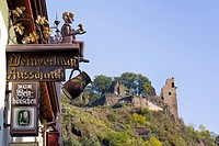 Sign, wine for sale in Weinhaeuschen, wine house, view of Are Castle, Altenahr, Ahrtal Valley, Eifel Range, Rhineland_Palatinate, Germany, Europe