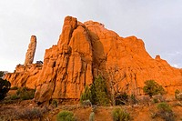 Finger Rock in the last evening light, Kodachrome Basin State Park, Utah, USA, North America