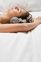 Woman relaxing with headphones