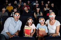 A cinema audience watching a 3d movie (thumbnail)