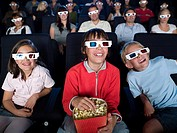 Children watching a 3d movie