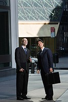 Japanese and caucasian businessmen