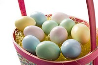 Painted eggs in a basket