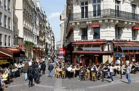 Street cafe, shops, Rue Montorgueil, 2. Arrondissement, city centre, Paris, France, Europe