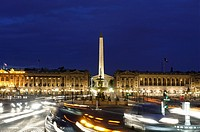 City traffic and Obelisque at the Place de la Concorde, Galerie Nationale du Jeu de Paume, Musee de l'Orangerie, Paris, France, Europe