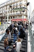 Historic Metro sign, Metropolitain, city centre, Paris, France, Europe