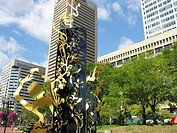 Modern sculptures in front of World Trade Center. Baltimore, Maryland, USA