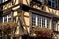 Window, half_timbered house, Petite France, Strasbourg, Alsace, France, Europe