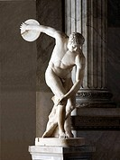 Statue of a discus thrower discobolus. Marble statue in the Vatican Museums, Italy, depicting a nude, male athlete preparing to throw a discus.