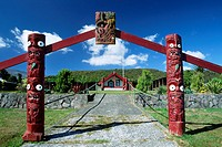 Entrance gate to a Marae_meeting place of the Maoris, South Island, New Zealand