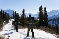 Hiking through the mountains with snowshoes, Kluane National Park, King's Throne, Kathleen Lake, Yukon Territory, Canada, North America