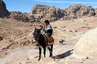 Bedouin boy riding a donkey or ass Equus asinus, Petra, Jordan, Middle East, Asia