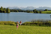 Lake Schwaltenweiher near Seeg, East Allgaeu, Swabia, Bavaria, Germany, Europe