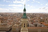 View over the historic centre of the city from the Basilica del Pilar cathedral, Plaza del Pilar square, in Saragossa or Zaragoza, Aragon, Spain, Euro...