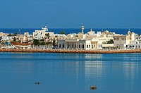 View of the Maritime Museum and the town of Sur lying between a lagoon and the Gulf of Oman, Oman, Middle East