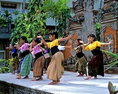 Girls performing a traditional dance, Denpasar, Bali, Indonesia