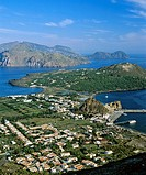 Vulcano, Porto di Levante, view of Vulcanello, aerial view, Lipari Island at back, Aeolian Islands, Sicily, Italy
