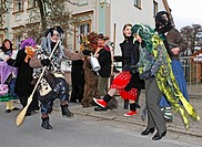 Traditional Sorbian rites performed during Carnival Mardi Gras celebrations in Luebbenau, Spreewald, Brandenburg, Germany, Europe