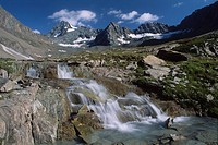 Stream at the foot of Mt. Grossglockner, Hohe Tauern National Park, North Tirol, Austria, Europe