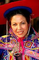Woman from Peru in national costume, ITB trade fair