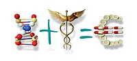 Pharmaceutical profits, conceptual computer artwork. DNA deoxyribonucleic acid and a caduceus symbol of the medical profession often used by commercia...