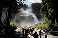 Tourists visiting the cascade of Krimml in the forests of National Park Hohe, in the Austrian Tirol, Austria, Germany, Europe