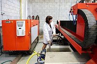 Researcher using abrasive waterjet technology cutting machine for metals and nonmetal materials, Fatronik-Tecnalia, Research and Technology Center, Do...