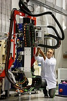 Researcher working on Roptalmu portable robot to drill holes into aircraft components, Fatronik-Tecnalia, Research and Technology Center, Donostia, Ba...