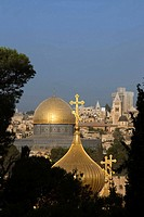 Russian orthodox church domes and dome of the rock temple mount old city jerusalem. Israel