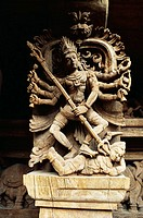 17th century wood carvings in temple chariot at Madurai , Tamil Nadu , India