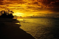 Sunset over ocean, Gili Trawangan, Lombok, Lesser Sunda Islands, Sunda Islands, Indonesia