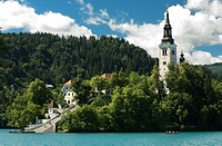 Church at lakeside, Lake Bled, Gorenjska, Balkan Peninsula, Carniola, Slovenia