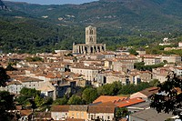 View over town with cathedral, Lodeve, Herault, Languedoc_Roussillon, France