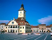Facade of townhall, Piata Sfatului, Brasov, Transylvania, Romania