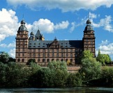 Schloss Johannisburg Johannisburg Castle on the Main River in Aschaffenburg, Lower Franconia, Bavaria, Germany, Europe