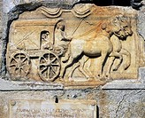 Image of a horse and carriage ferrying the soul to the underworld on a gravestone at a pilgrimage church in Carinthia, Austria, Europe