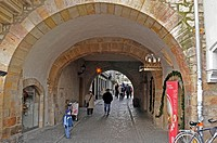 Entrance to the Kraemerbruecke (bridge), Erfurt, Thuringia, Germany, Europe