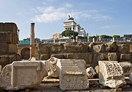 Forum of Trajanus ruins, The National Monument of Victor Emmanuel II seen in background, Rome, Italy, Europe