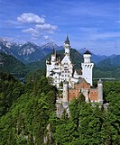 Neuschwanstein Castle in summer, Panorama, Alp lake, Fuessen, Thannheimer Mountains, Allgaeu, Bavaria, Germany