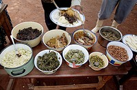 UGANDA  Typical foods of the country  An array of dishes at a feast  Kayunga District