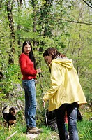 young women in the wood