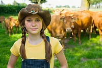Portrait of a girl on a farm