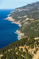View of the coast from Ses Animes tower, Serra de Tramuntana. Majorca, Balearic Islands, Spain