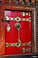 Door, Jamkhang Chenmo monastery, Tashilhunpo, Tibet, Asia