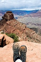 Hiking boots at the Grand Canyon, Arizona, USA