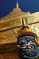 Statue of Yaksha Golden Chedi Wat Phra Kaew temple Bangkok Thailand Asia
