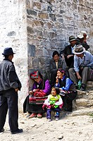 Pilgrims at the Ganden convent 4300m near Lhasa, Tibet