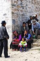 Pilgrims at the Ganden convent (4300m) near Lhasa, Tibet