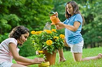Little Girls Gardening