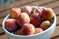 Close_up of plums in a fruit bowl